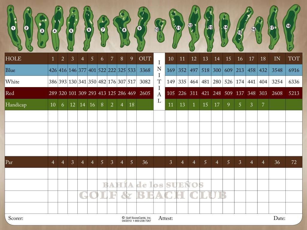 Bahia Suenos Golf Score Card2